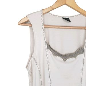 Tribal Large Beige Tank Top With Mesh
